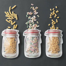 10pcs Reusable Mason Jar Bottles Bags Fresh Food Storage Bag Snacks Zipper Pouch