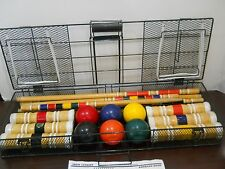 Sportcraft 6 Person Croquet Set 2001 Metal Carrying Case Wooden Mallets Used
