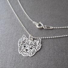 Collier fin motif tête de yorkshire chien animal minimaliste argent CO62