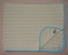Carters Just One Year White Pink Yellow Stripe Baby Receiving Blanket Blue Trim