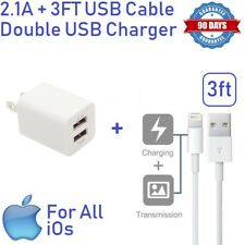2.1A White Double USB Wall charger Cube W/ USB cable 3ft for iphone 5,6,SE [ST2