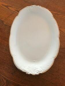 "13"" x 9"" Vintage Wawel White Porcelain Ceramic Oval Platter Silver Edge Poland"