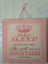 "Shabby PRINCESS Wall Decor Wood Wall Plaque Baby Nursery ""Let her Sleep"""