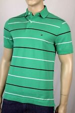 Tommy Hilfiger Green White Navy Blue Polo Shirt Stripes NWT Small S