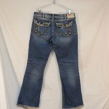 Silver Jeans Suki Flap Bootcut Heavy Stitching Distressed Size W 33 L32