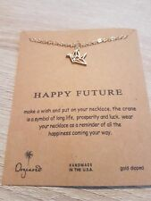 """Dogeared HAPPY FUTURE CRANE Necklace Charms Gold Dipped 16"""" chain UK SELLER"""