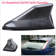 1X Black Carbon Fiber Vehicle Roof Shark Fin Antenna Aerials Strong AM/FM Signal