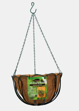 "Panacea 12"" HANGING PLANTER Basket Green Steel Natural Coconut Liner 88500 NEW!!"