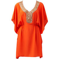 BNWT Forever New Size 6 Kaftan Silk Orange Beaded Jewel Top Boho Gypset Beach