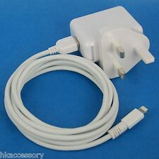 12W AC Wall Charger UK Plug+6ft 2M USB cable WHITE 4 iPhone 6s 6 Plus SE 5s 5c 5