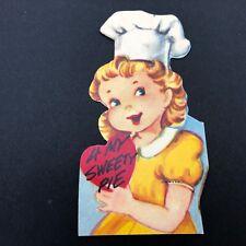 Vtg 40s 50s Baking Valentines Card Ephemera Baker Sweetie Pie Chefs Hat Cook Usa