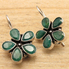 925 Silver Over CHRISTMAS Jewelry, Green Simulated EMERALD FLOWER STYLE Earrings