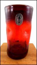 VTG PILGRIM HAND BLOWN RUBY RED PINCHED CRACKLE ART GLASS VASE ORIGINAL LABEL FS