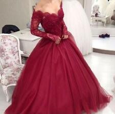 Burgundy Prom Dress Long Sleeve Lace Sweet 15 16  Quinceanera Dress Formal Gown