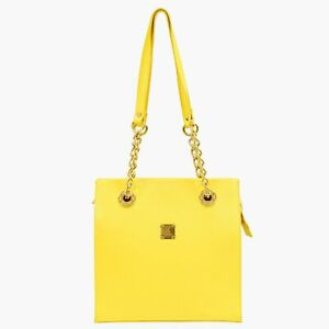 MCM Leather Chain Shoulder Tote Satchel Handbag Purse Yellow Gold Germany