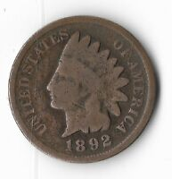Rare Old Antique US 1892 Indian Head Penny Collection Coin American Cent LOT:M2