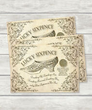 WEDDING LUCKY SIXPENCE - GIFT FOR BRIDE WITH ENVELOPE REAL SIXPENCE, CARD & TALE