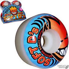 """SPITFIRE """"Soft D's"""" Skateboard Wheels 54mm 92a White Street Park Ramp Grip"""