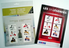 CANADIAN HOCKEY LEGENDS, PANE OF 6 STAMPS + BILANGUAL BOOKLET OF COLLECTIBLES
