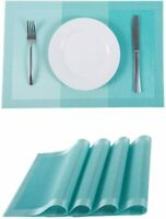 "Placemats PVC Heat-resistant Table Mats Woven Washable 12"" x18"" Set of 6 Blue"