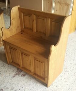 SOLID PINE MONKS BENCH WITH PACK PANELLING  , WOODEN STORAGE SEAT MADE TO ORDER
