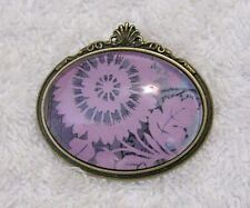 Flowers Oval Shape Blooms Blossoms Jn1 New Brooch Pin Brass Tone Frame Artistic