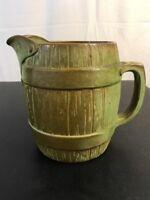Frankoma Pottery Barrel Pitcher Prairie Green  #97D Marked (G)