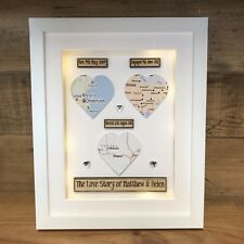 LED LIGHT BOX FRAME Personalised Maps Gift Wedding Engagement Honeymoon
