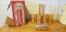 VINTAGE DEPRESSION GLASS OPTIC TUMBLERS AMBER SET OF 8 IN ORIGINAL BOX