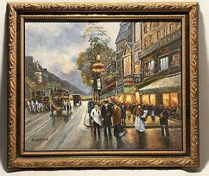 Marvelous Medium Oil On Canvas Old Paris Street By K. Master Framed & Signed