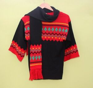 """Child Small adult jumper Sweater Vintage 32"""" chest  Scarf Ski Christmas prop 17g"""