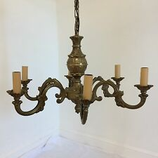 Antique Style Rococo Painted Brass 6 Arm Chandelier