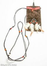 Native American Beaded Pouch Br Faux Suede Mini Dream Catcher Feathered Bag
