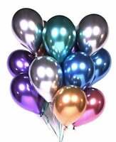 20 CHROME BALLOONS METALLIC LATEX PEARL  Helium Baloon Birthday Party