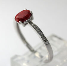 Diamond Accent Sterling Silver Dyed Oval Polished Ruff Cut Ruby Ring Size 7