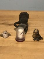 5x Vintage Ornaments/2xowls/rocking Chair thimble/dog/collectables