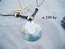 LARGE ROUND MUSSEL SHELL DISK NECKLACE WITH SHIVA EYE INLAY AND BEADS / n230ky
