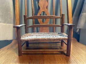 "Wooden And Rattan Doll Bench 7.5"" Wide 6"" Tall 4.5"" Deep"