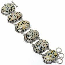 "Dalmation Jasper Gemstone Handmade Silver Fashion Jewelry Bracelet 7-8"" SB4349"