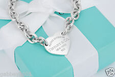 "Please Return to Tiffany & Co Sterling Silver Heart ID Tag Bracelet 7.5"" w/Pouch"