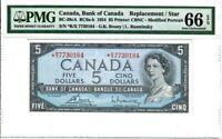 "Canada $5 Banknote 1954 BC-39cA PMG GEM UNC 66 EPQ ""Replacement / Star"" RARE"