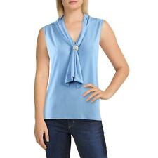 Karl Lagerfeld Paris Womens Blue Knit Sleeveless Dressy Blouse Top S BHFO 5110