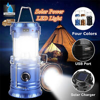 Solar LED Flashlight Power Camping Tent Light Torch Lantern Lamp Rechargeable