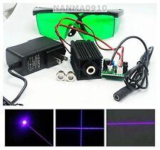 405nm 50mw Violet Blue Dot Line Cross Laser Module w 12V Adapter & 450nm Goggles