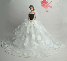 Fashion Party Princess Dress Wedding Clothes/Gown+veil For Barbie Doll S363