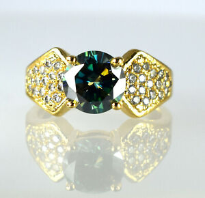 Women's Jewelry 4.39 Ct Green Diamond Solitaire Halo Gold Finish Gorgeous Ring