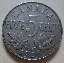 1926 Near 6 Canada Five Cent Coin. Semi Key