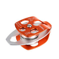32KN Aluminum Twin Sheave Pulley Climbing Rigging Rescue Gear Orange