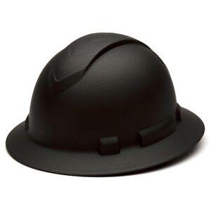 Pyramex HP54117 Ridgeline Graphite FULL BRIM Black Hard Hat W/4 Pt Ratchet Susp