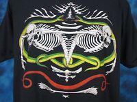 vintage 80s SKELETON SNAKE PUNK PAPER THIN T-Shirt M/L biker zombie skull rock